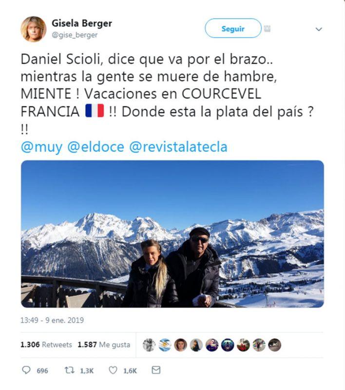 Gisela Berger disparó contra Daniel Scioli y por Twitter denunció una amenaza