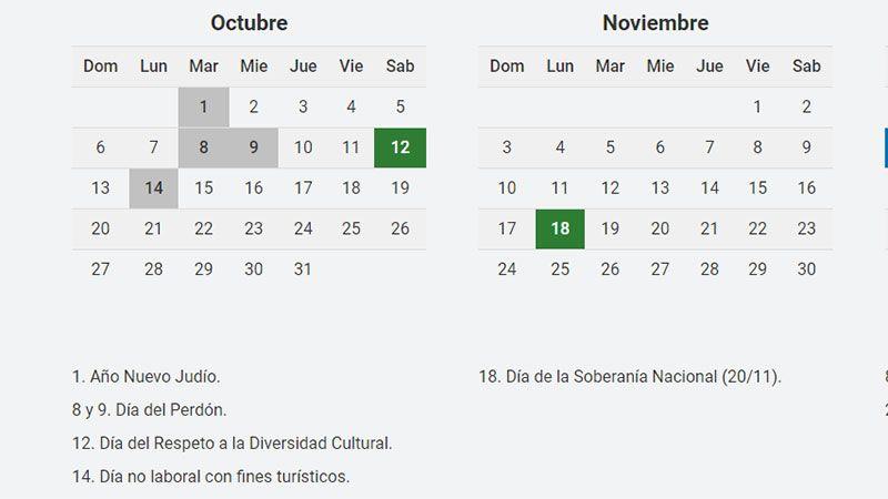 El calendario de feriados del 2019 publicado por el Ministerio del Interior de la Nación.