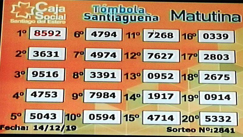 El sorteo matutino de la Tómbola Santiagueña de este sábado 14 de diciembre