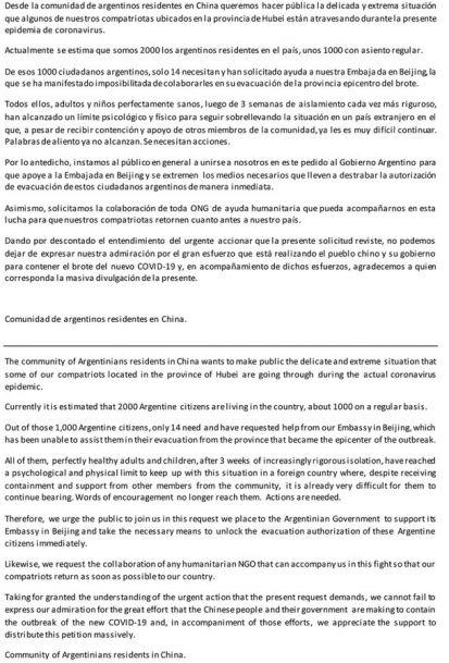 El comunicado de los residentes argentinos en China