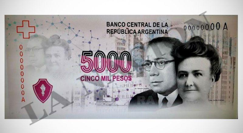 El proyectado billete de $ 5000, con las figuras de los médicos Ramón Carrillo y Cecilia Grierson.