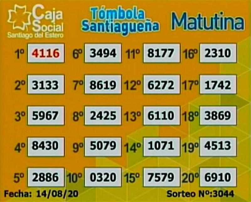 Los resultados del sorteo matutino de la Tómbola Santiagueña de este viernes 14 de agosto.