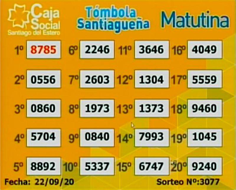 Los resultados del sorteo matutino del martes 22 de septiembre.