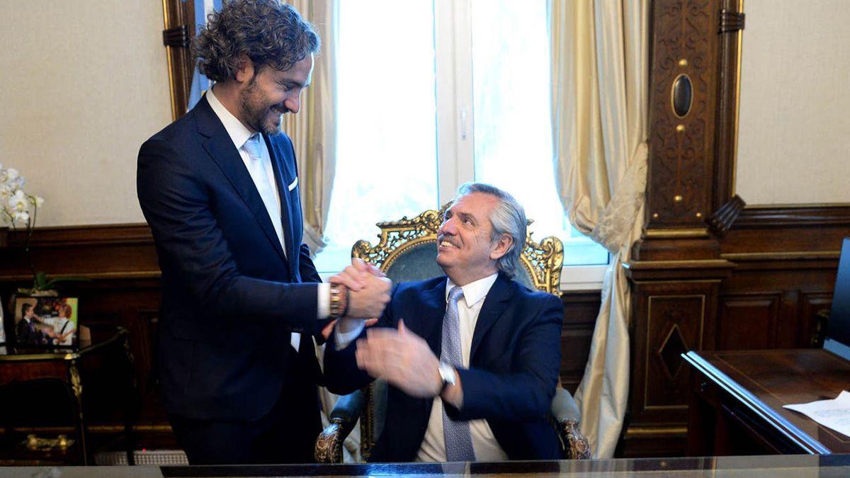 Santiago Cafiero y Alberto Fernández.