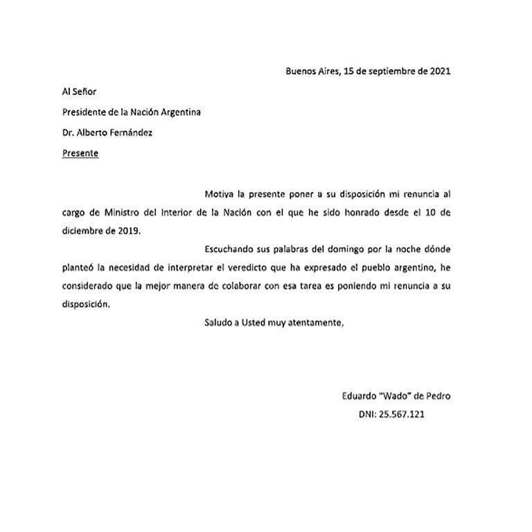 La carta del ministro de Pedro